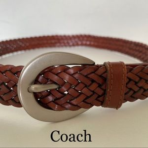 Coach Brown Braided Leather Belt Large NWOT